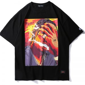 Hip Hop Men's Black Style Printed T-Shirt