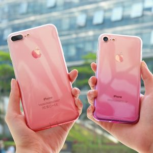 FLOVEME Transparent Gradient Design Phone Case for iPhone
